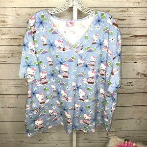 Hello Kitty Snowflake print Scrub Top Size 2X